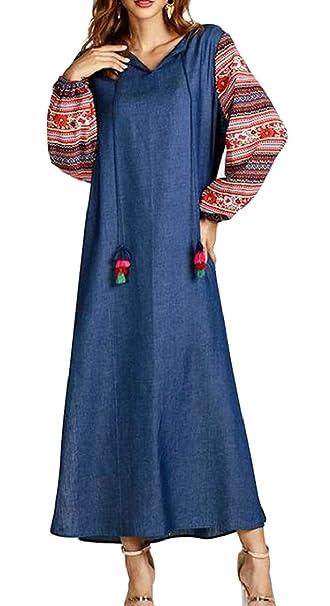 0c681260154 Sweatwater Women s Muslim Plain Tie Floral Printed Ethnic Style Denim Maxi  Dresses Blue s