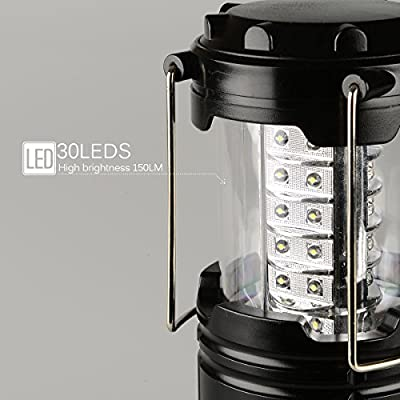 ZTX Portable Outdoor Super Bright 30LEDs Camping Lantern with 12 AA Batteries (Black, Collapsible) 4 Packs