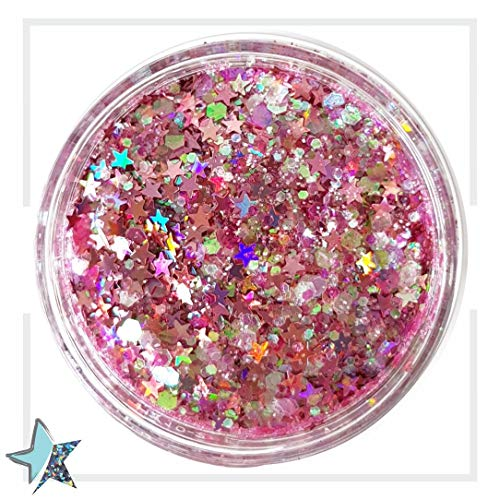 Chunky Glitter Makeup ✮ Starlightshine Cotton Candy 30g ✮ Festival Cosmetic Beauty Makeup Face Body Glitter Hair Nails Rave Holographic Glitter -