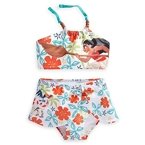 Disney Moana Swimsuit for Girls - 2-Piece Size White