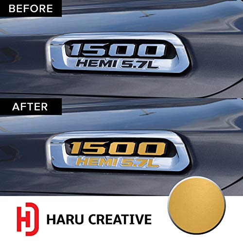 - Haru Creative - Front Hood Emblem Logo Letter Overlay Vinyl Decal Sticker Compatible with and Fits Ram 1500 5.7L Hemi 2019 - Matte Gold