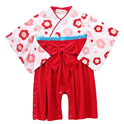 (Baby Boy Romper Clothes Organic Cotton Kimono Two-Piece Sets Printed Pattern Pajamas Long Sleeve for Autumn Fall Winter 95 Red)