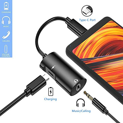Type C USB C to 3.5 mm Headphone Jack Adapter Support Audio + Charge for Motorola Moto Z, Motorola Moto Z Droid,Huawei Mate 10 and More,Type C Audio Converter 2 in 1 Headphone Connector