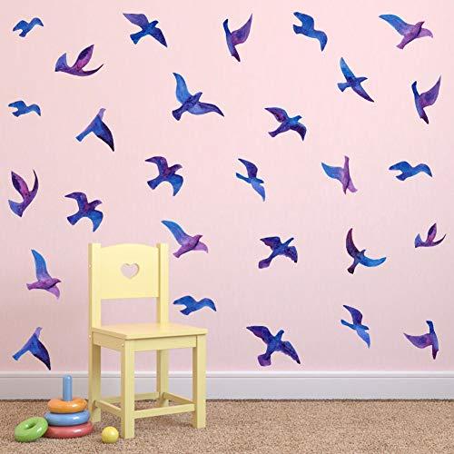 TOARTi Watercolor Birds Wall Sticker Creative Flying Wall Decal,Seabirds Seagull Bird Vinyl Wall Mural Office Decor (28pcs)