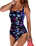 Upopby Women's Vintage Tummy Control One Piece Swimsuits Monokini Printed Plus Size Swimwear Bathing Suits Firework 8
