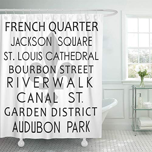 Semtomn Shower Curtain Subway New Orleans Destination Louisiana French Quarter Fleur Lis 72