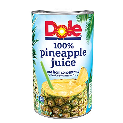 Fresh Pineapple - Dole 100% Juice Pineapple 46 Ounce Cans (Pack of 6)