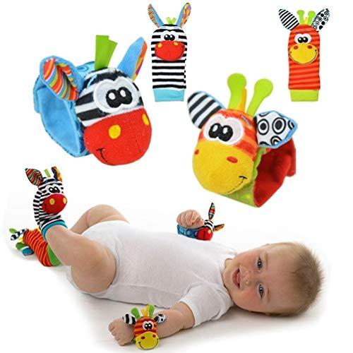 Baby rammelaar speelgoed – schattig dier baby 4 stks (2 stks taille en 2 stks Sozzy sokken) zachte pols bel riem…