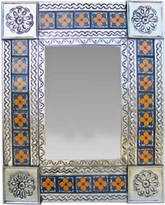 Fine Crafts Imports Small Silver Marigold Tile Talavera Tin Mirror