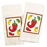 Chili Peppers Applique Kitchen Towel - Set of 2