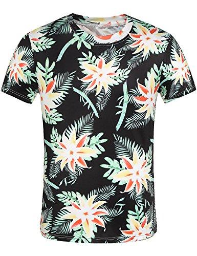 SSLR Mens Crew Neck Casual Short Sleeve Hawaiian Tee Shirt
