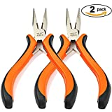 2Pcs Long Nose Pliers with Wire Wrapping Cutting (5.5 Inch)