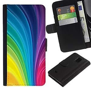 LASTONE PHONE CASE / Lujo Billetera de Cuero Caso del tirón Titular de la tarjeta Flip Carcasa Funda para Samsung Galaxy S5 Mini, SM-G800, NOT S5 REGULAR! / Vertical Swirling Rainbow Colors Colorful