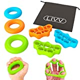 LIVV FITNESS Premium Finger Stretcher and Grip Strength Trainer Kit - Strengthens Fingers, Forearm, Wrist and Grip - 3 Level Finger Resistance Bands and Hand Grip Workout Rings with Carry Bag (6 Pack)