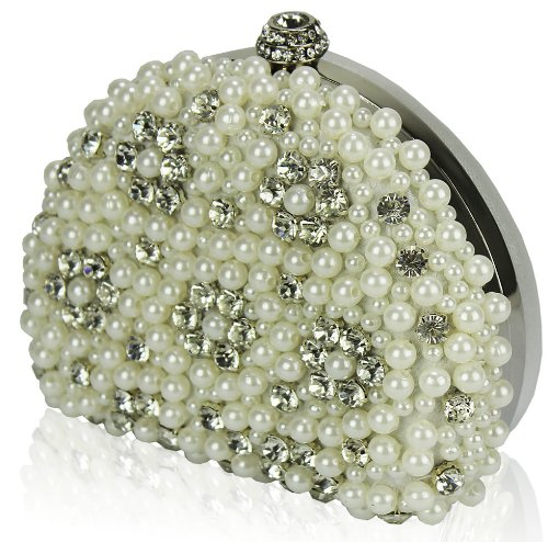 Rhinestone Ivory Bag Evening Design Prom Pearl Bridal Wedding Hardcase Purse Diamante 2 Handbag Beaded Party Box Womens Clutch Ladies wIcUafqqE