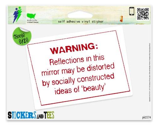 """Warning Reflection in Mirror Beauty Vinyl Car Bumper Window Sticker 5"""" x 4"""""""