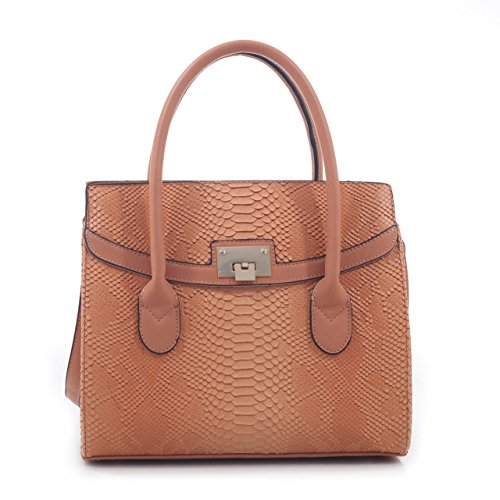(Celina Snakeskin Pattern Embossed Faux Leather Satchel Hand Bag - Tan)
