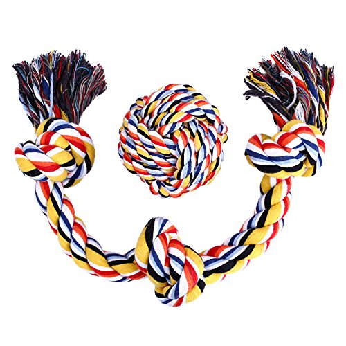 Dog Rope Toy Cotton Blend 3-Knot Tug Chew Toys + Knotted Ball – Best for Tug of War or Fetch – Suitable for Medium and Large Dogs Chewing and Playing – 2 Pack Gift Set