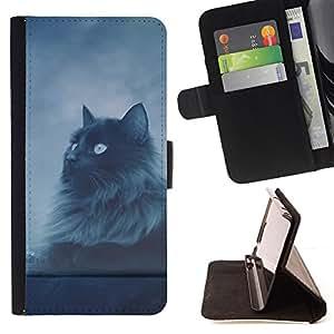 - Cat Longhair Grey Black Blue Eyes Night Sky - - Prima caja de la PU billetera de cuero con ranuras para tarjetas, efectivo desmontable correa para l Funny HouseFOR Sony Xperia Z2 D6502
