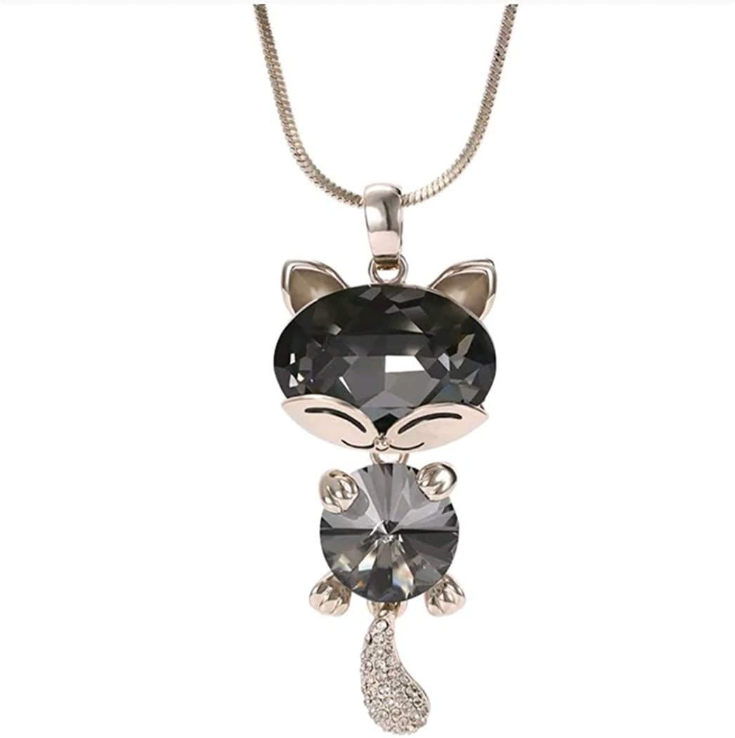Marni's - Colgante en Forma de Gato Decorado con Cristales - Cadena Larga - Regalos Originales para Mujer -Disponible en Dos Colores - Regalo Dia de la Madre o cumpleaños