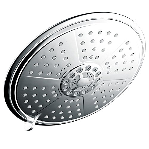 7 Inch Rainfall Showerhead - HotelSpa Extra-Large 7-Inch Rainfall Shower Head for Exceptional Water Coverage! High-Pressure Angle-Adjustable Shower Head features Rub-clean Jets, 7 Full Settings and Premium Chrome Finish