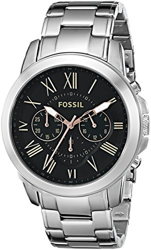 - Fossil Men's FS4994 Grant Chronograph Stainless Steel Watch - Silver-Tone