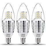 7 watt type b bulb - LOHAS Candelabra LED Bulb, E12 Base, 65 Watt-75 watt halogen Bulb Equivalent, LED 7W Candelabra Base Bulbs, Daylight 6000K, 680 Lumens, Non Dimmable, 120V Chandelier Light for Home Lighting(3 Pack)