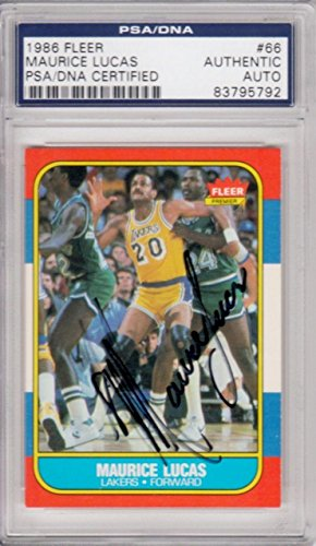Lucas Autographed Basketball (Maurice Lucas Los Angeles Lakers 1986 Fleer #66 Signed AUTOGRAPH 792 - PSA/DNA Certified - Basketball Slabbed Autographed Cards)