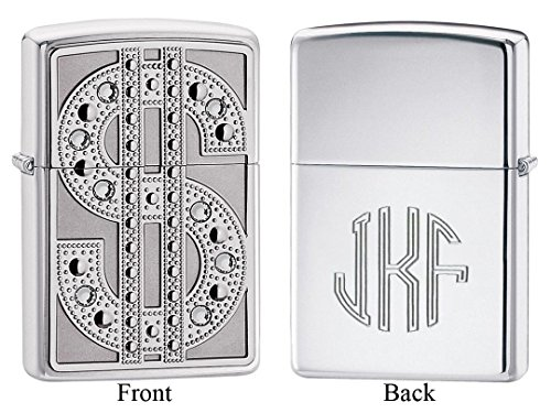 Personalized Zippo Bling Emblem High Polish Chrome Lighter with Free Monogram