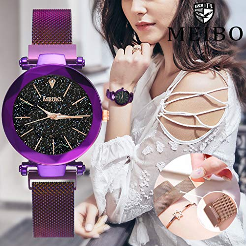 Magnetic Watches for Women, Quartz Starry Sky Dial Ladies Wristwatch, Mesh Band Analog Watch Valentine's Day Gifts for Women ()