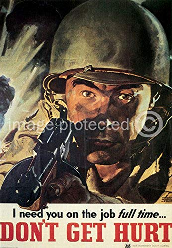AGS - Dont Get Hurt Vintage World War II Two WW2 WWII USA Military Propaganda Poster - 24x36