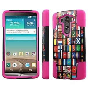 [NakedShield] LG G3 [World Flag V2] Armor Tough Shock Proof KickStand Black/Hot Pink Phone Case
