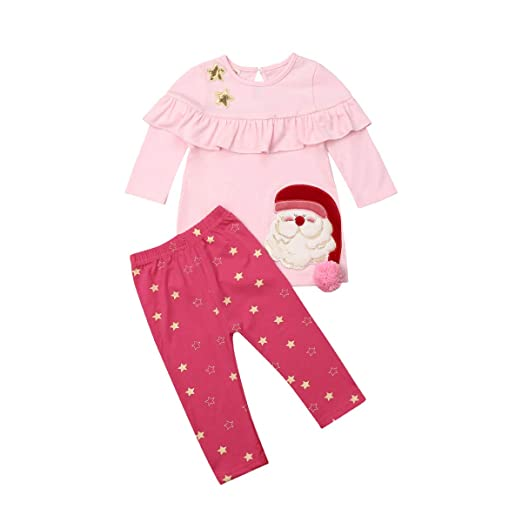 2d0b88bc5 0-5T Kids Girls Baby Santa Claus Ruffle Shirt Dress Stars Leggings Christmas  Clothes Set