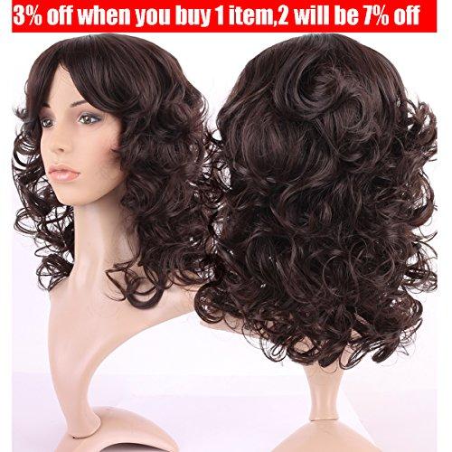 [S-noilite 30Style Dark Brown Fullfy Curly Full Wig, Shoulder Long Hair Heat Resistant Kanekalon Fibre Wigs +Wig Cap (Dark brown] (Perm Wigs)