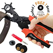 #LightningDeal 98% claimed: Best Leather Hole Punch Set for Belts, Watch Bands, Straps, Dog Collars, Saddles, Shoes, Fabric, DIY Home or Craft Projects. Super Heavy Duty Rotary Puncher, Multi Hole Sizes Maker Tool, 3 Yr Warranty