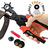 Best Leather Hole Punch Set for Belts, Watch Bands, Straps, Dog Collars, Saddles, Shoes, Fabric, DIY Home or Craft Projects. Super Heavy Duty Rotary Puncher, Multi Hole Sizes Maker Tool, 3 Yr Warranty