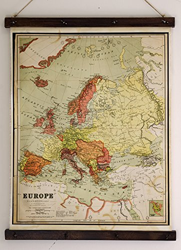 Amazon.com: Old map of Europe, Canvas print, Home wall decoration ...