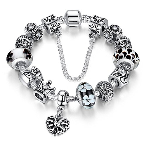 """A TE Charm Bracelet """"Queen"""" Crystal and Murano Glass Beads with Safety Chain for Women JW-B110"""