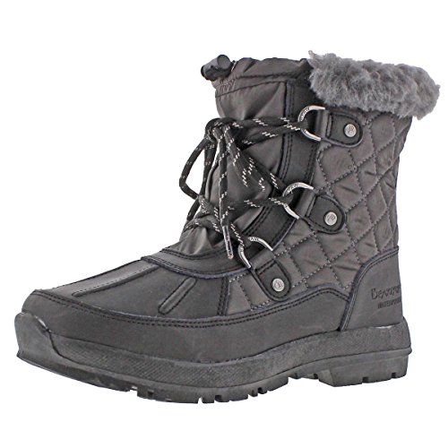 BEARPAW Women's Bethany Snow Boot, Black/Grey, 9 M - Quilted Heart Box