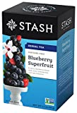 Stash Tea Blueberry Superfruit Herbal Tea 20 Count Tea Bags in Foil (Pack of 6) Individual Herbal Tea Bags for Use in Teapots Mugs or Cups, Brew Hot Tea or Iced Tea