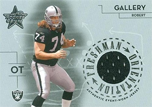 - Robert Gallery player worn jersey patch football card (Oakland Raiders) 2004 Leaf Rookies & Stars #FO2