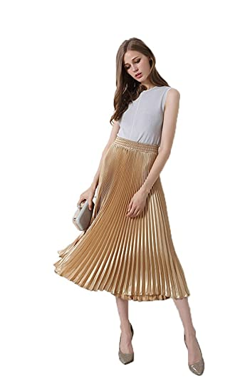 34f159f1dde9a8 Eorish Women's Vintage Elegant Pleat Elastic Waist Long Skirt (US 0 ...