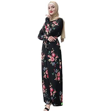 665b2751a2 Amazon.com : Formal Long Muslim Dresses Women Flower Print Long ...