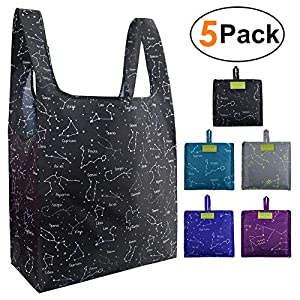 Grocery Bags Shopping Reusable Foldable Totes Constellation 5 Pack Ripstop Navy Bags Bulk 50LBS Large Cute Bags Eco Friendly Fabric Sturdy Washable Waterproof Black Teal Gray Purple Navy