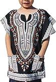 Raan Pah Muang RaanPahMuang Brand Thick Chenamai Cotton Childs Dashiki Boubou Kaftan Shirt, 8-10 Years, Black