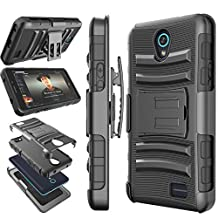ZTE Maven 2 case, ZTE Prestige Holster, ZTE Sonata 3 Clip, Tekcoo [Hoplite] Shock Absorbing Swivel Locking Belt Defender Full Body Kickstand Carrying Cases Cover For ZTE Avid Plus / Chapel [Black]