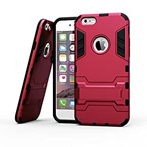 iPhone 6Plus caso, BENTOBEN Slim híbrida de doble capa a prueba de golpes carcasa de silicona para Apple Iphone 6s Plus/iPhone 6Plus 5.5Inch (rojo)