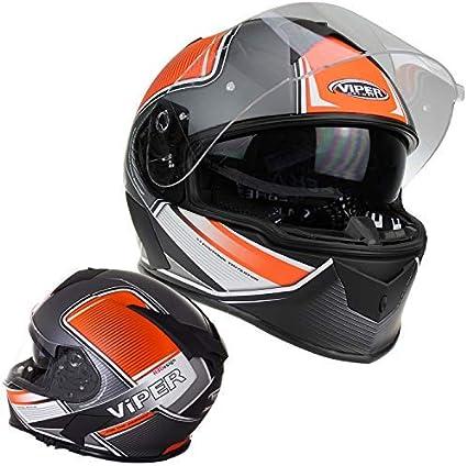Viper Xpace Rs-V11 Motorradhelm Integralhelm Vollhelm Fahrrad Rennen Sports Touren Doppelvisier M/änner Frauen Matt Orange ECE ACU Genehmigt M