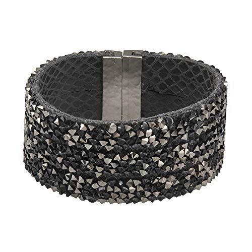 Niv Jewelry Chantal Bracelet with Gray Swarovski Crystals, Bangle with Magnetic Clasp