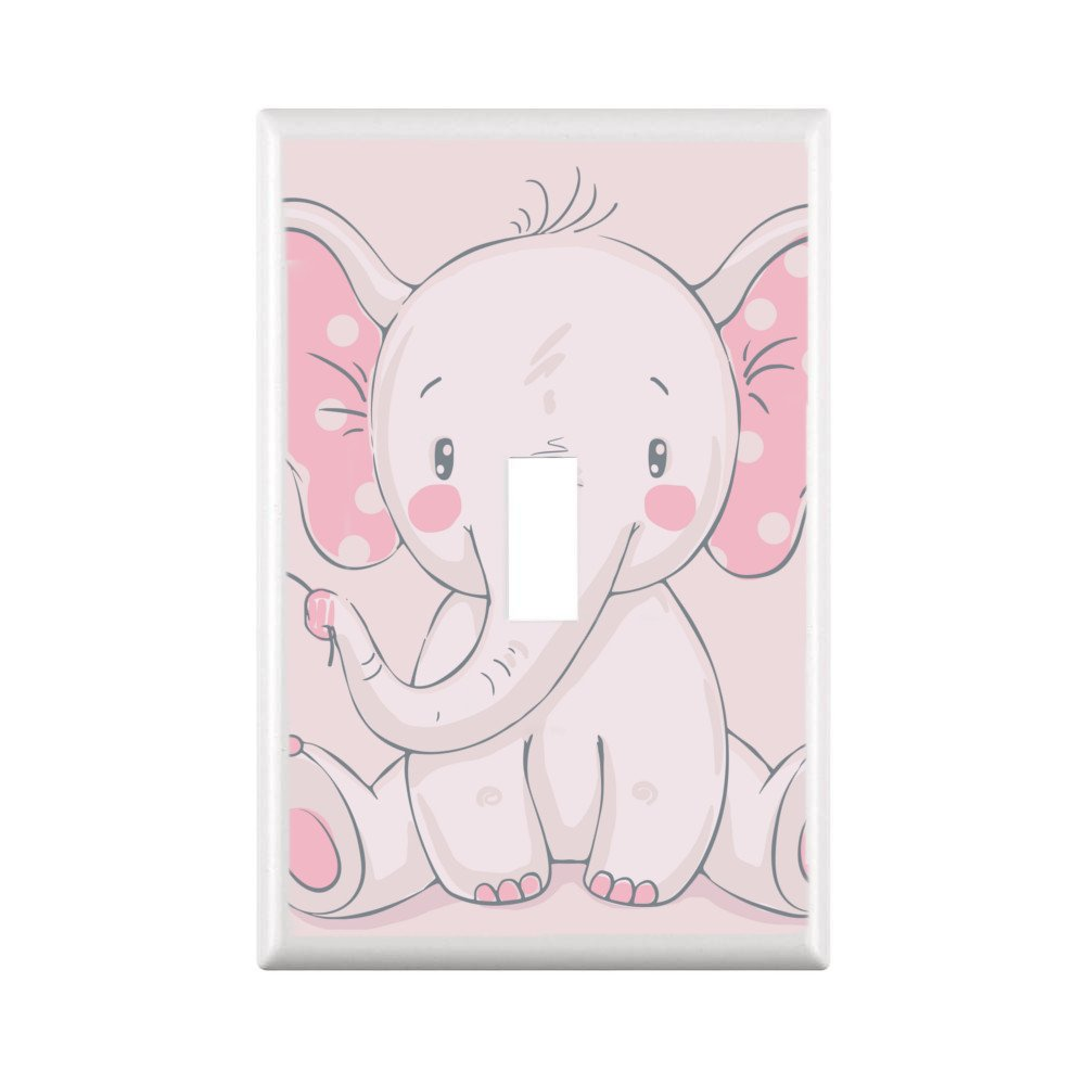 GYC ADORABLE ELEPHANTS NURSERY & CHILDREN DECOR LIGHT SWITCH COVER PLATE OR OUTLET (1X TOGGLE STANDARD, PINK)